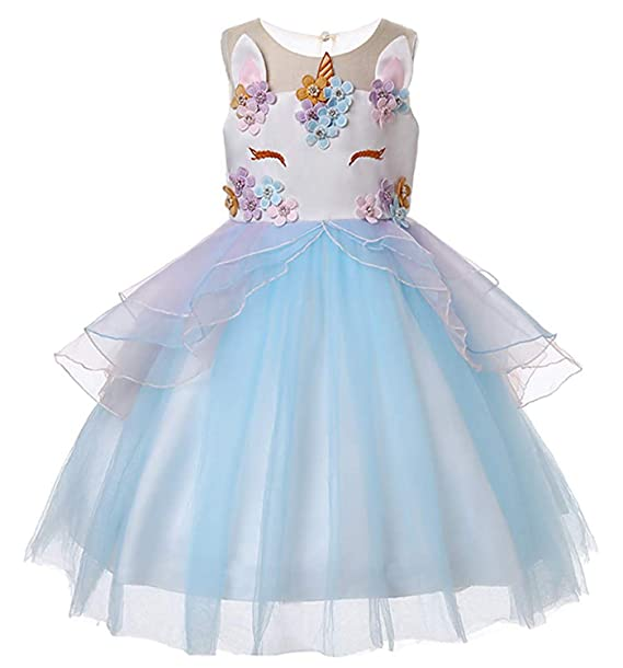 2b09f52ecff9 Amazon.com: TTYAOVO Girls Unicorn Costume Dress Kids Pageant Flower  Princess Party Dresses: Clothing
