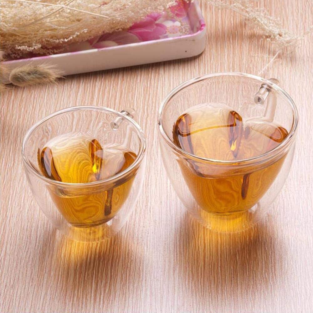 Linwei 1PC Heart Love Shaped Glass Mug Couple Cups Double Wall Glass Mug Resistant Tea Beer Mug Milk Lemon Juice Cup Drinkware CA,180ml