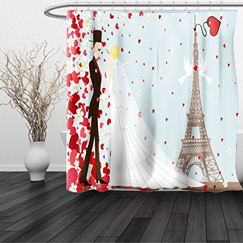 HAIXIA Shower Curtain French Couple Hand Drawn Paris Eiffel Tower Getting Married Hearts Blue Red White (San Francisco 49ers Oval Ring)