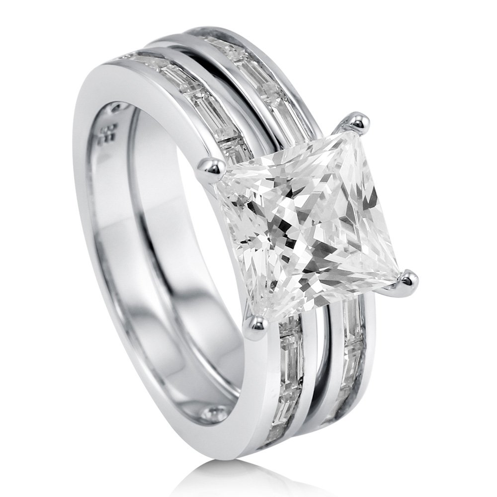 BERRICLE Rhodium Plated Sterling Silver Princess Cut Cubic Zirconia CZ Solitaire Engagement Wedding Ring Set 5.39 CTW Size 5