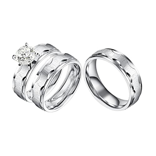 Castillna 3 Piece His And Hers Wedding Set, Brushed Stainless Steel Wedding  Engagement Ring Band