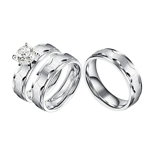 Castillna 3 Piece His And Hers Wedding Set Brushed Stainless Steel Engagement Ring Band