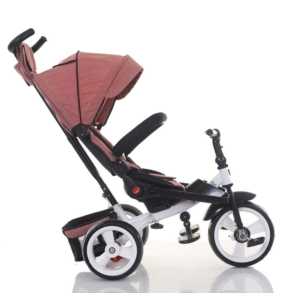 Strollers Baby Baby Kids Children Tricycle Ride-on 3 Wheels Safe for Children with Sun Canopy,Back Storage and Non-Slip Handle (Color : E)