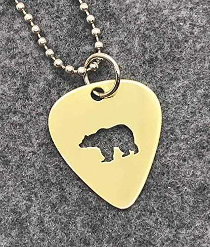 (Walking Bear Necklace Made From Brass Guitar Pick)