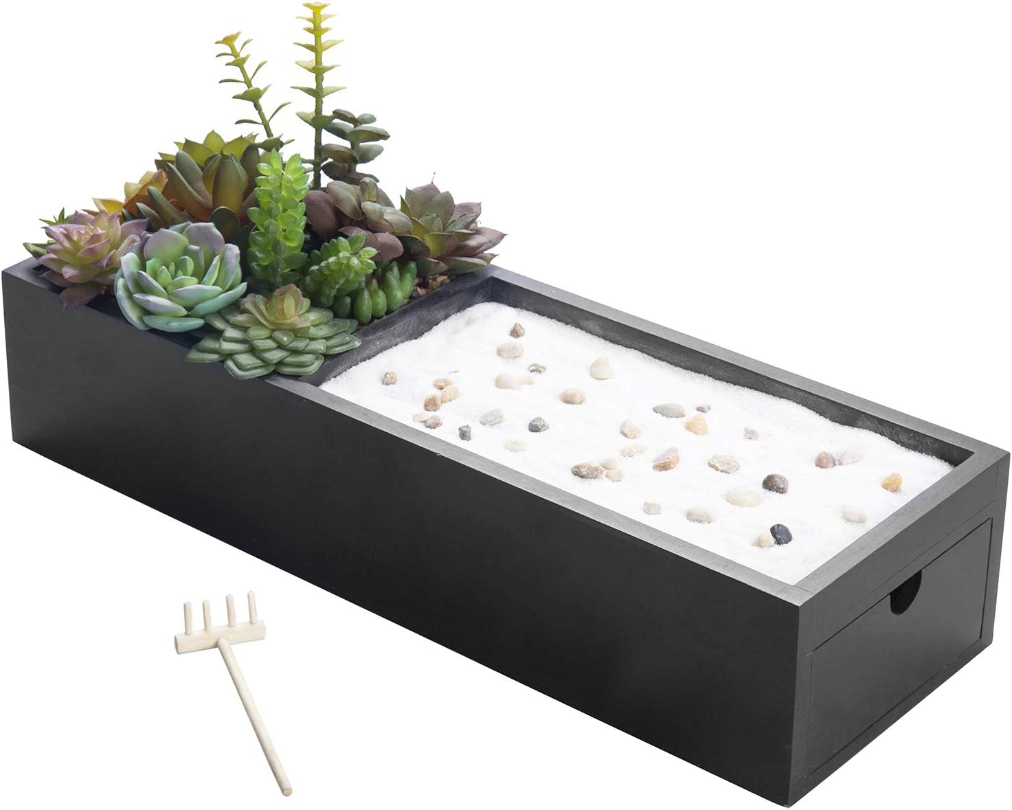 MyGift Zen Garden & Artificial Succulent Plants with Black Wood Storage Drawer and Sand, Pebbles and Rake