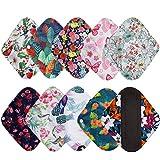 BOMAIS 7 Pieces Set Including 1 Piece Mini Wet Bag +6 Pieces 8 Inch Charcoal Bamboo Panty Liner Mama Cloth Menstrual Pads Reusable Sanitary Pads