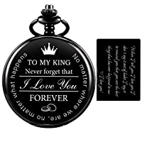 Pocket Watch for Men Who Have Everything Birthday Gifts for Men Personalized Gifts for Husband Boyfriend (King) Engraved Black