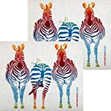 Colorful Zebra Set of 2 each Swedish Dishcloths | ECO Friendly Absorbent Cleaning Cloth | Reusable Cleaning Wipes