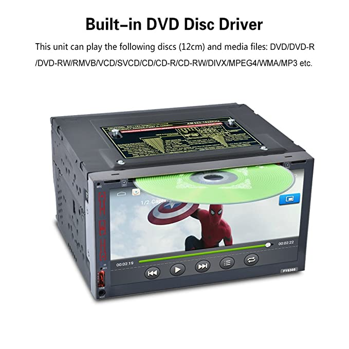 Coche GPS navegación, pantalla táctil capacitiva de 7 pulgadas 2 Din 1080P estéreo/radio/reproductor de vídeo construido en WIFI con Bluetooth FM/AM Radio, ...