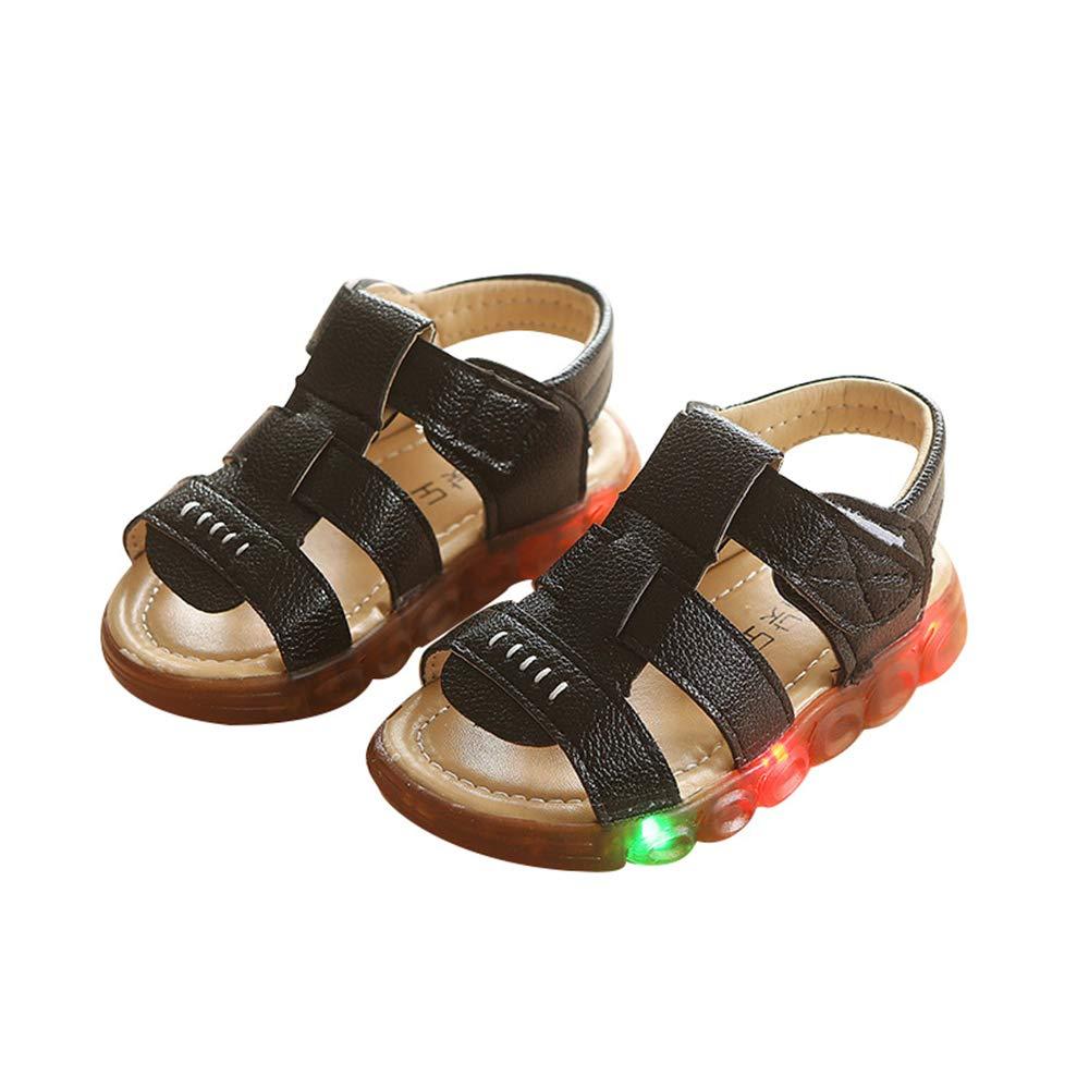 edv0d2v266 Fashion Baby Fashion Sneakers LED Luminous Child Toddler Casual Colorful Light Shoes(Black 25/8.5MUSToddler)