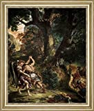 "Jacob Wrestling with the Angel Detail by Eugene Delacroix - 15"" x 19"" Framed Premium Canvas Print"