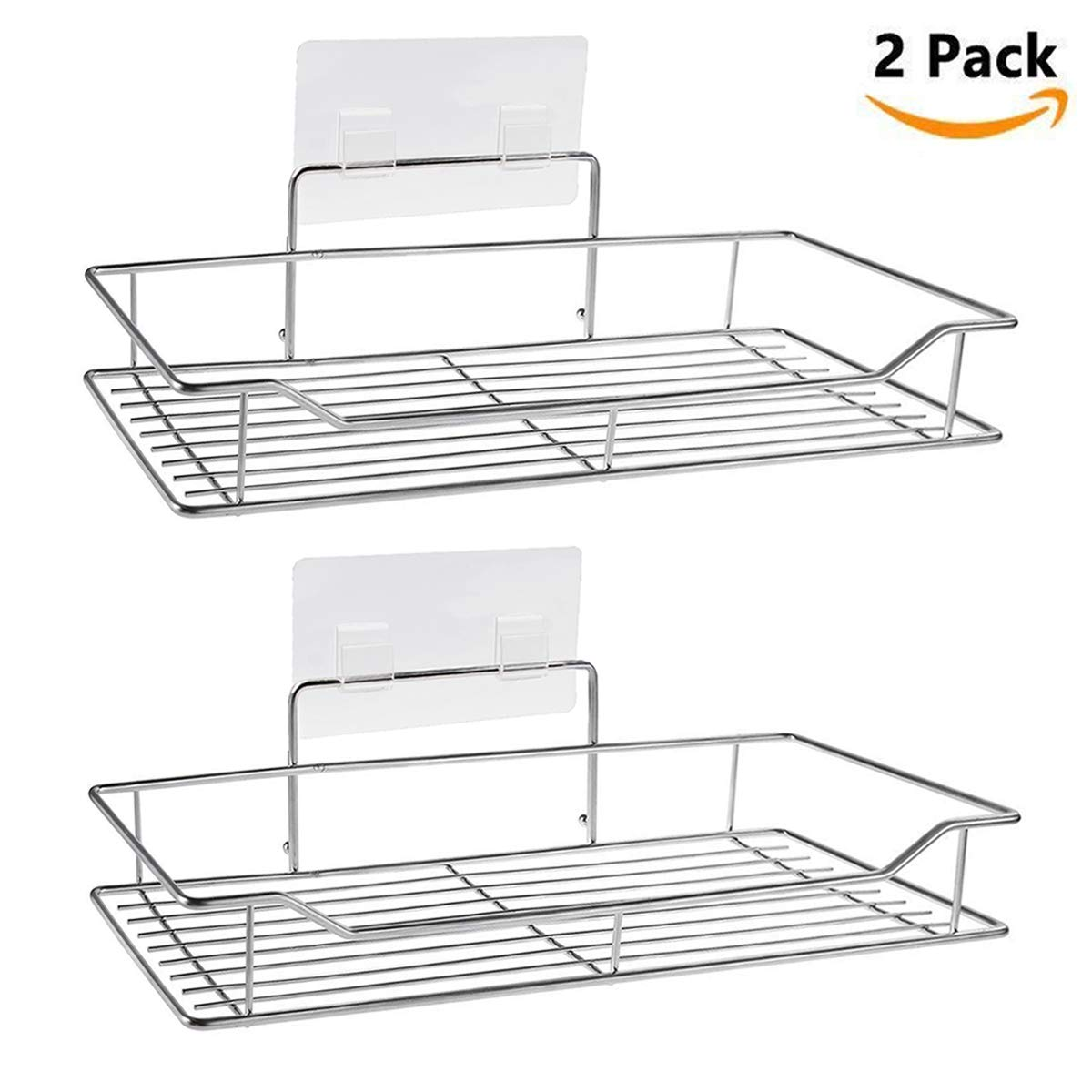Bathroom Shelves, WYJP Shower Caddy Kitchen Rack Storage Organizer with Traceless Transparent Adhesive No Drilling SUS304 Stainless Steel- 2 PACK