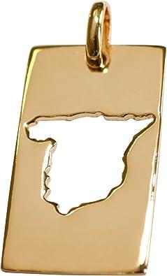 So Chic Joyas - Colgante Mapa España Spain Chapado Oro 750: Amazon ...