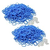BlueDot Trading 1200-Piece Do-It-Yourself Bracelet Kit Refill Pack, Includes Rubber Band and S-Clips for Loom Art/Kids Craft with Rainbow, Light Blue