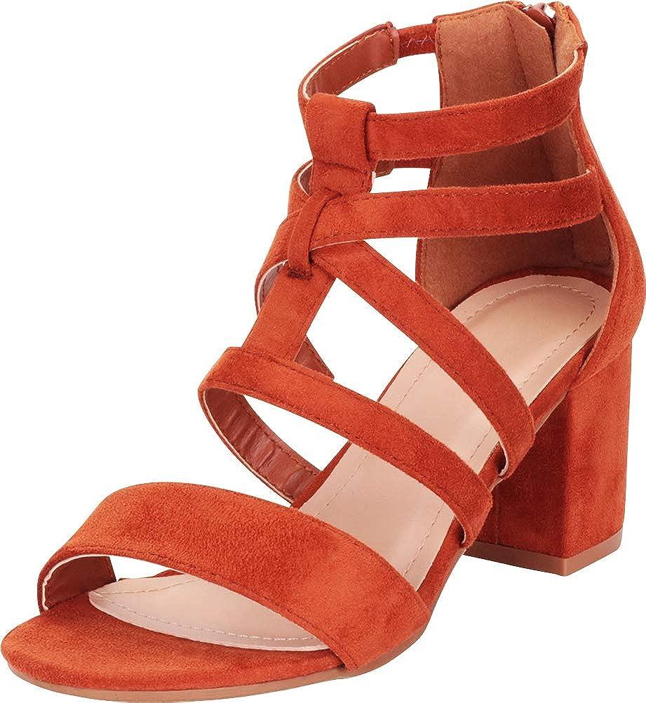 Burnt orange Imsu Cambridge Select Women's Crisscross Strappy Block Mid Heel Sandal