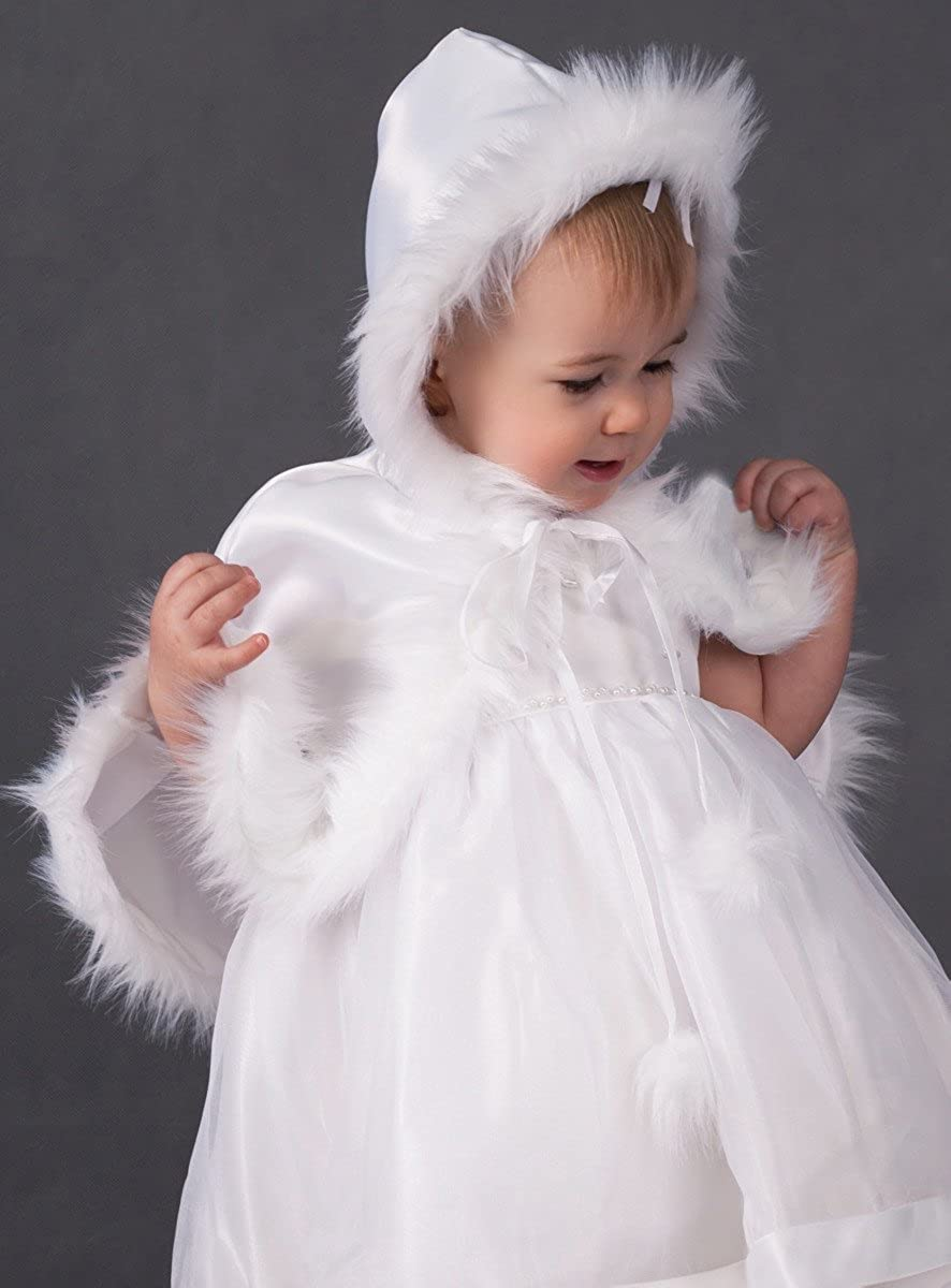 Boutique-Magique Baptism Cape White with Hood Baby Girl Or Baby Boy
