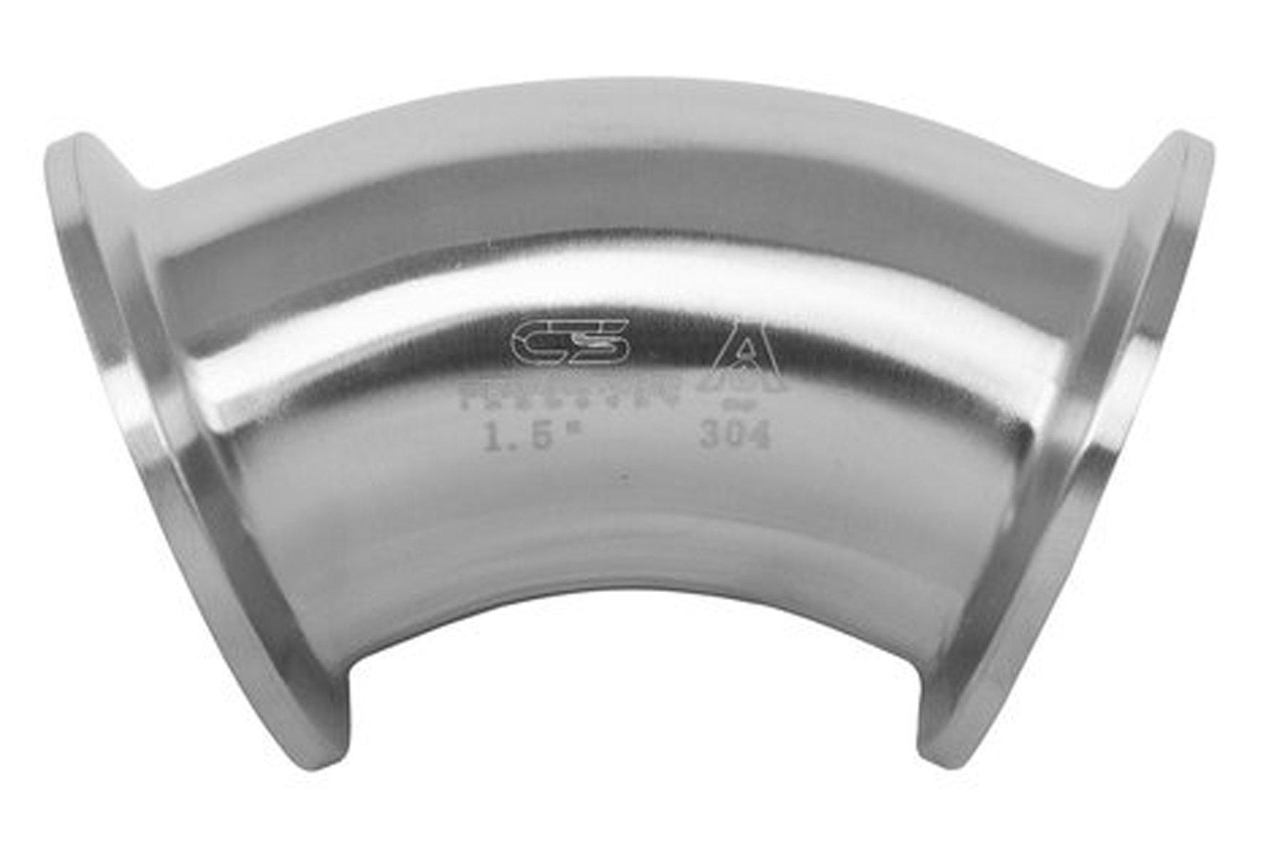 4'' 45 Degree 304 Stainless Steel Sanitary Ferrule Elbow Tri Clamp by Cedarstone Industry
