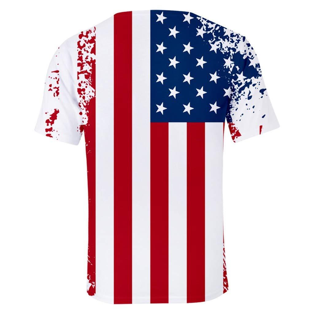 Hmlai Clearance Mens T Shirt Athletic Short Sleeve Bodybuilding American Flag Print Patriotic Casual Tops Tee