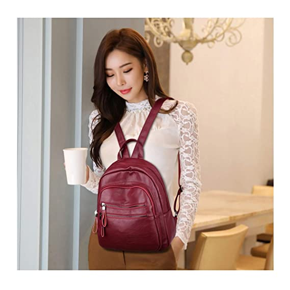 Five Colors for Women /& Men PU Leather Generous and Simple ZHICHUANG Girls Multipurpose Backpack for Daily Travel//Outdoor//Travel//School//Work//Fashion//Leisure