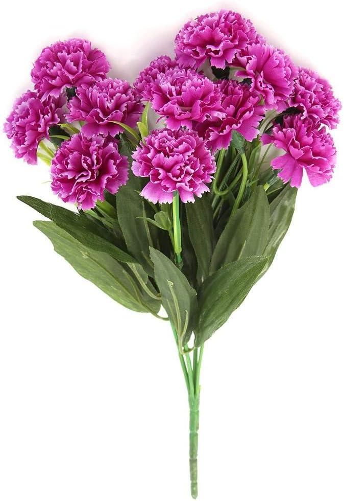 HZAMING Lot de 2 Bouquets de Fleurs artificielles en Soie avec /œillets en Plastique pour d/écoration de Mariage