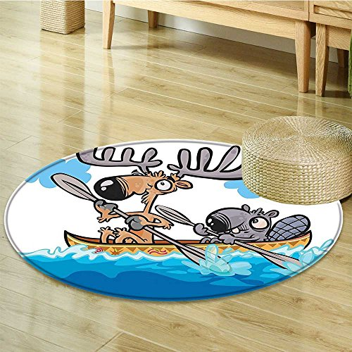 - Small round rug Carpet Boat Beaver Friend Canoe River Fun Native Characters Blue White Brown door mat indoors Bathroom Mats Non Slip-Round 71