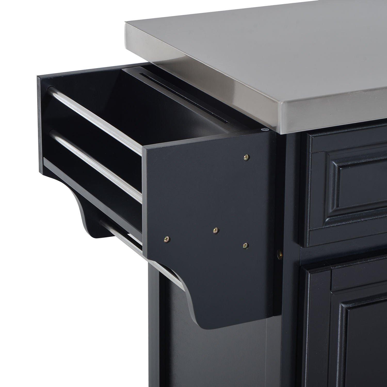 HomCom Modern Rolling Kitchen Island Storage Cart w/Stainless Steel Top - Black by HOMCOM (Image #7)
