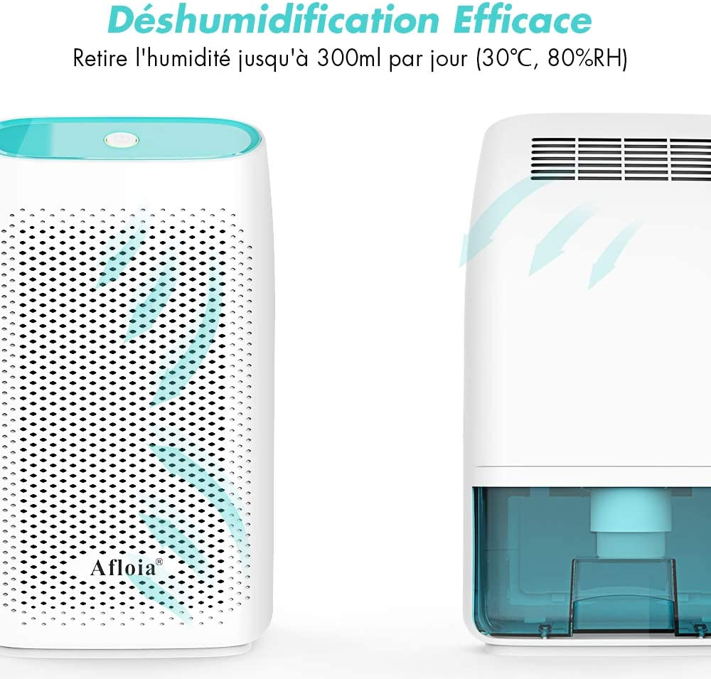 Bleu Afloia 700ML D/éshumidificateur de Maison Absorbeur d/'Humidit/é Absorbe 300ML par Jour D/éssicant d/'Air avec R/éservoir D/étachable pour Maison Cuisine Salle de Bain