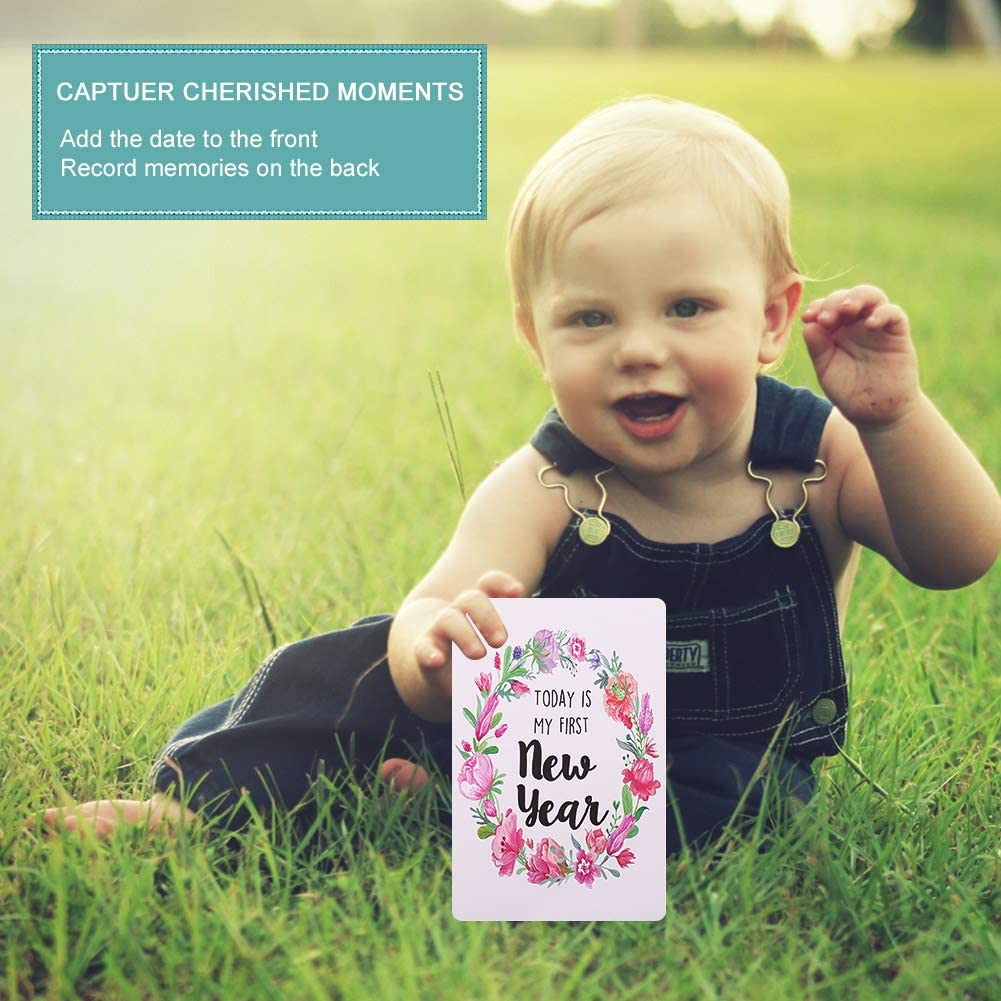 Capture Moments of Growing Baby MSTG Tech Milestone Cards for Baby Shower Gifts 36 Baby Milestone Cards Beautiful Newborn Baby Gift