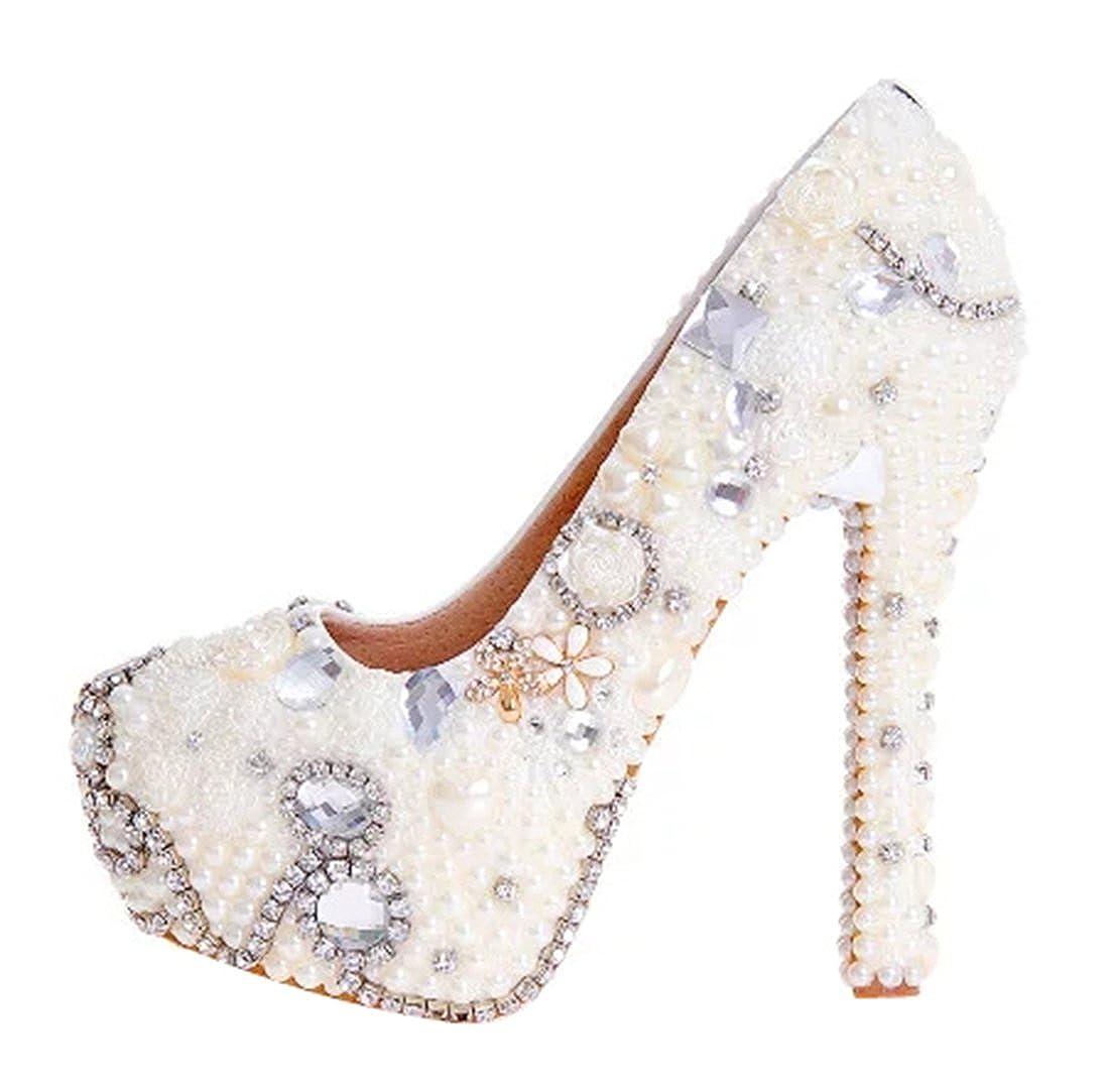 TDA Women's Beautiful Elegant Pearl Pumps Wedding Party Dress Stiletto Pumps Pearl B06WLKNRZZ Boots 0dc0ef
