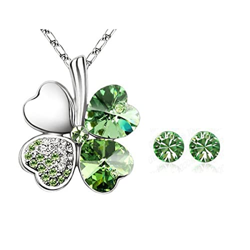 2c07deffd Amazon.com: Wrapables Gold Plated Swarovski Elements Crystal Heart Shaped  Four Leaf Clover Pendant Necklace and Stud Earrings Jewelry Set (Green):  Heart ...
