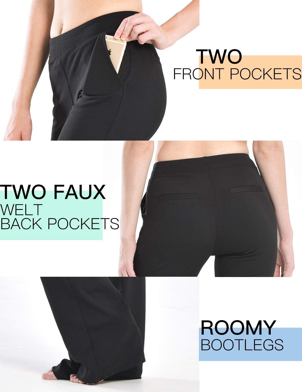 Jambe Longue Pantalon Evas/é Safort 71cm//76cm//81cm//86cm Rntrejambe R/égulier Quatre Poches Pantalon de Yoga avec Jambe Semi-/évas/ée