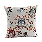 SODIAL(R) Cute Owl Pattern Linen Decorative Head Pillow Cover Home Cushion Cover (Love Blaetter + Owl)