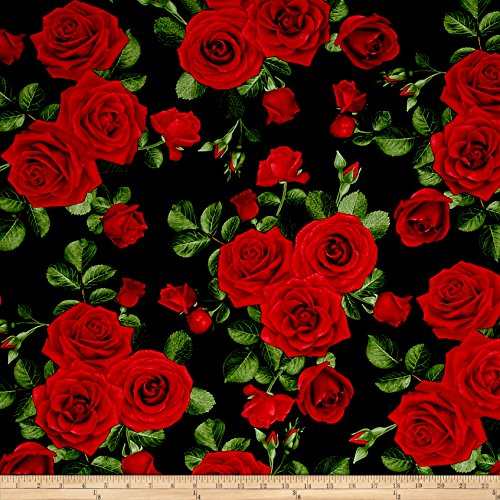 Timeless Treasures Glamour Spaced Roses Black Fabric By The Yard