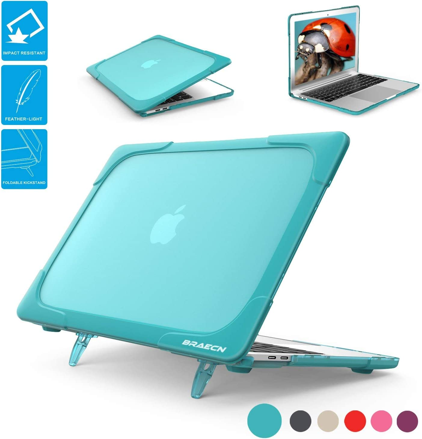 BRAECNstock MacBook Air13 Case 2018 Released A1932 [Heavy Duty] [Dual Layer] Soft Touch Hard Cases with TPU Bumper for Apple MacBook Air 13 Inch (Crystal Light Blue)