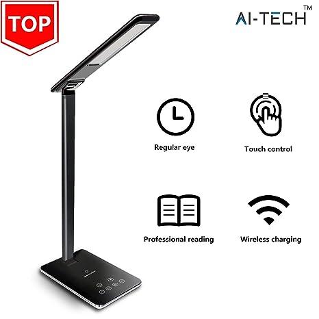 Aitech Lampara Escritorio Cargador Inalambrico Wireless Qi Lampara Carga Usb Desk Lamp Touch 5 Niveles De Brillo Apaga Automaticamente。