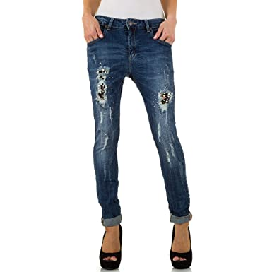 1387491fb58c Schuhcity24 Damen Jeans Hose Jeanshose Damenjeans Mozzaar Destroyed  Boyfriend Dunkelblau XS