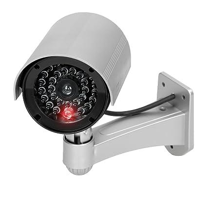 ECD Germany Cámara vigilancia simulada Falsa LED Intermitente Imitacion Cámara Seguridad con LED Luz roja Intermitente