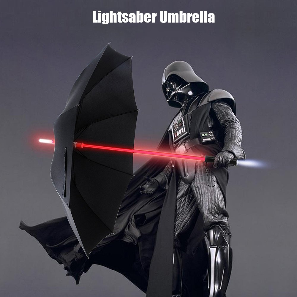 Bestkee LED Lightsaber Umbrella Laser Lighted Golf Umbrellas with 7 Color Changing On the Shaft / Built in Torch at Bottom