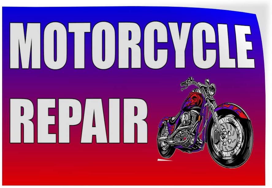 Decal Sticker Multiple Sizes Motorcycle Repair Red Rainbow Business Motorcycle Outdoor Store Sign Red Set of 10 28inx20in
