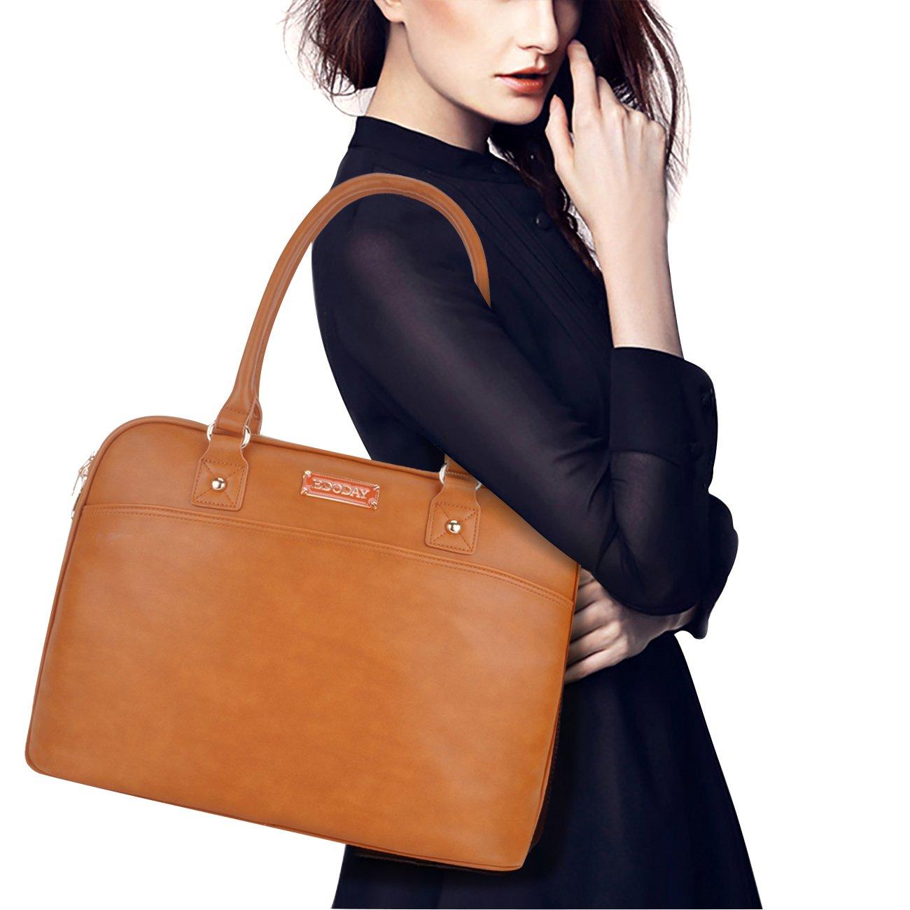 Laptop Tote Bag,15.6 Inch Tote Bag for Women Classic Laptop Case Shoulder Bag for Work[L0009/Brown]