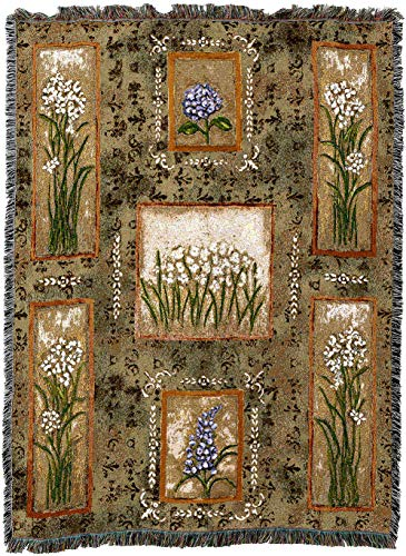 (Pure Country Weavers - Garden Maze Paper Whites, Hydrangeas and Lilacs Woven Tapestry Throw Blanket with Fringe Cotton USA 72x54)