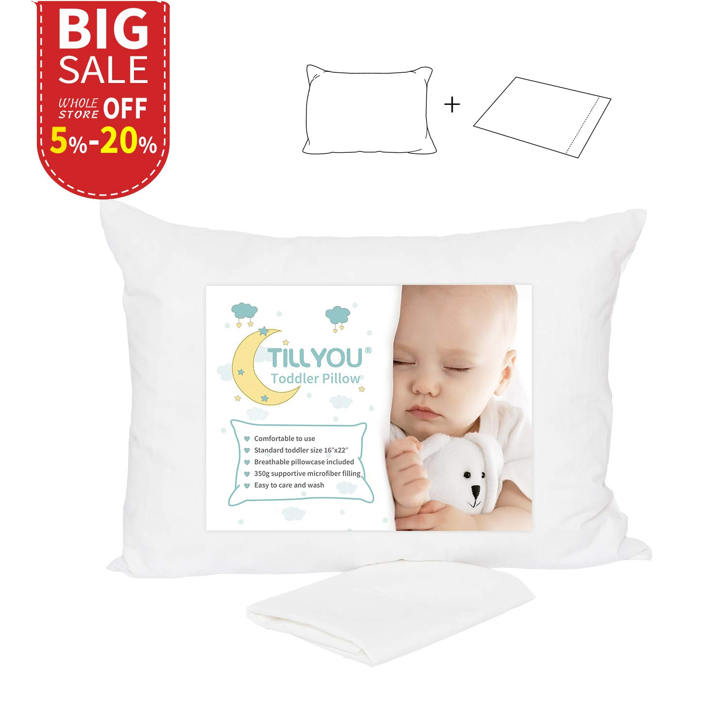 travel size pillow cases Amazon.com: TILLYOU Hypoallergenic Toddler Pillow with Pillowcase  travel size pillow cases