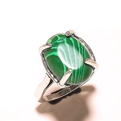 Gift For Girls Handmade Jewelry Green Dyed Emerald Sterling Silver Overlay Ring Size 6 US