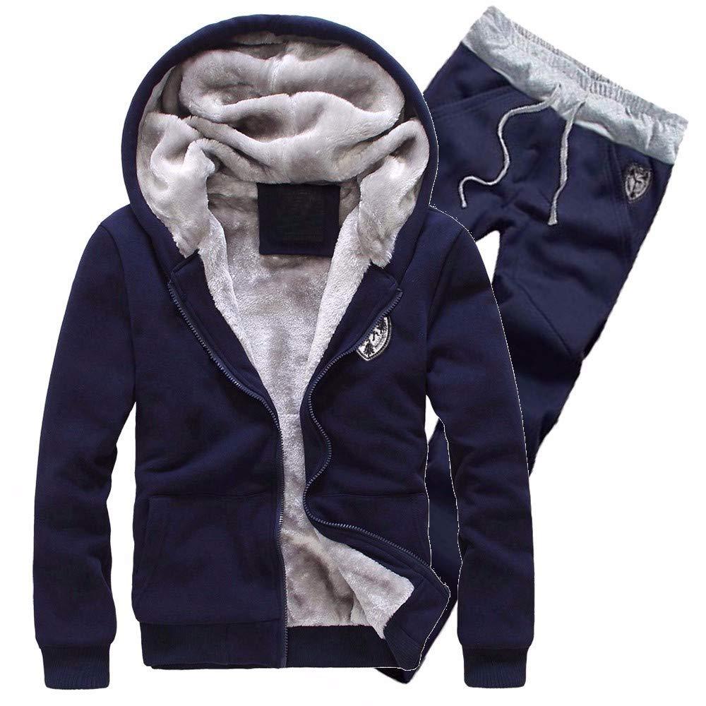 Luckycat Herren Trainingsanzug Warm Fleece Sport Kapuzenpulli Mantel Hoodies + Pants Sweat Suit Mode 2018