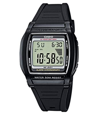 Casio W-201-1Avef Ladies Watch Quartz Digital Grey Dial Black Resin Strap