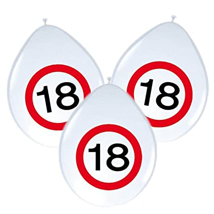8 Globos * 18 Cumpleaños * con señal de tráfico de diseño ...