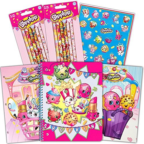 Shopkins School Supplies Value Pack -- 2 Folders, 12 Pencils, Notebook and Stickers