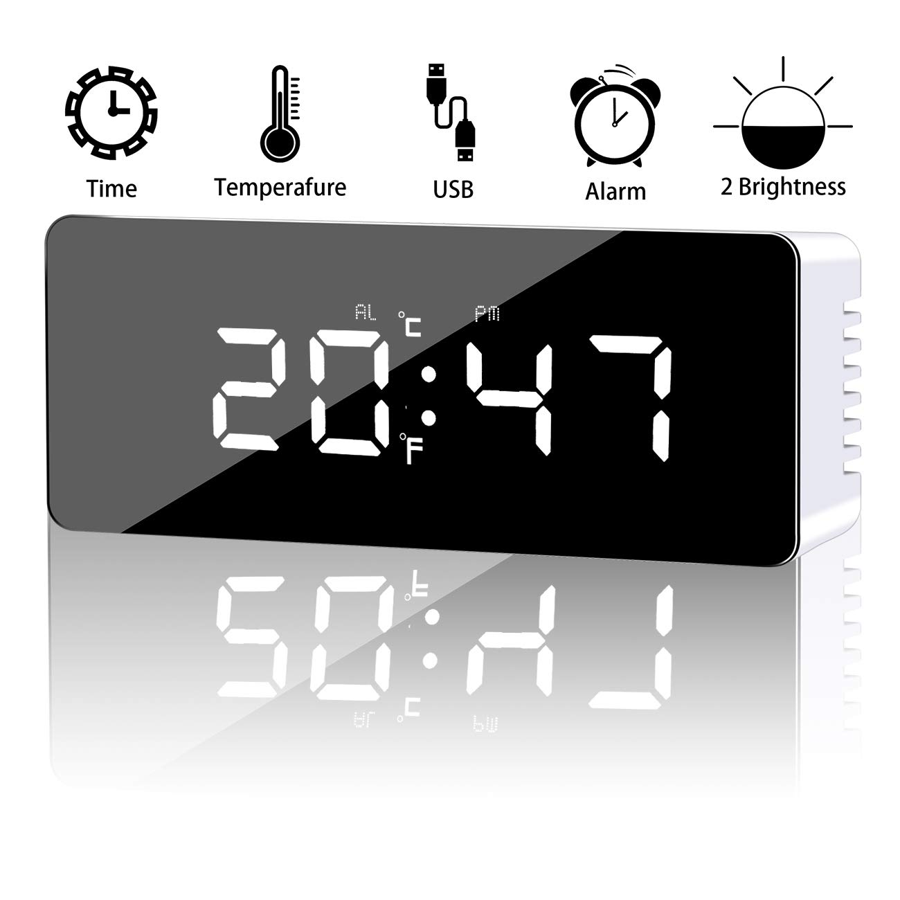 HandyHoffice Alarm Clock, Digital Alarm Clock with Large LED Display, 2 Level Brightness, Snooze Function, Mirror Surface,Time and Temperature Mode, Powered by USB Charging Port or Battery