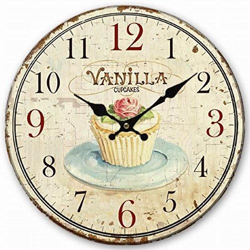 Telisha Wooden Wall Clock Vanilla Cupcake Clock Retro Vintage Large Clock Home Decorative Country Non -Ticking Silent Quiet 14 Inch Gift by Telisha
