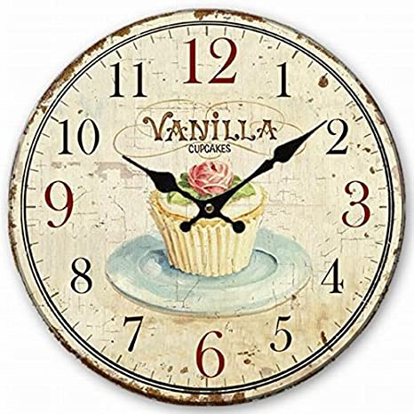 Wooden Wall Clock Vanilla Cupcake